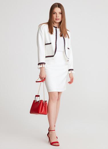 Gusto Kadın Beyaz Sıfır Yakalı  Ceket 20YG001627 Beyaz